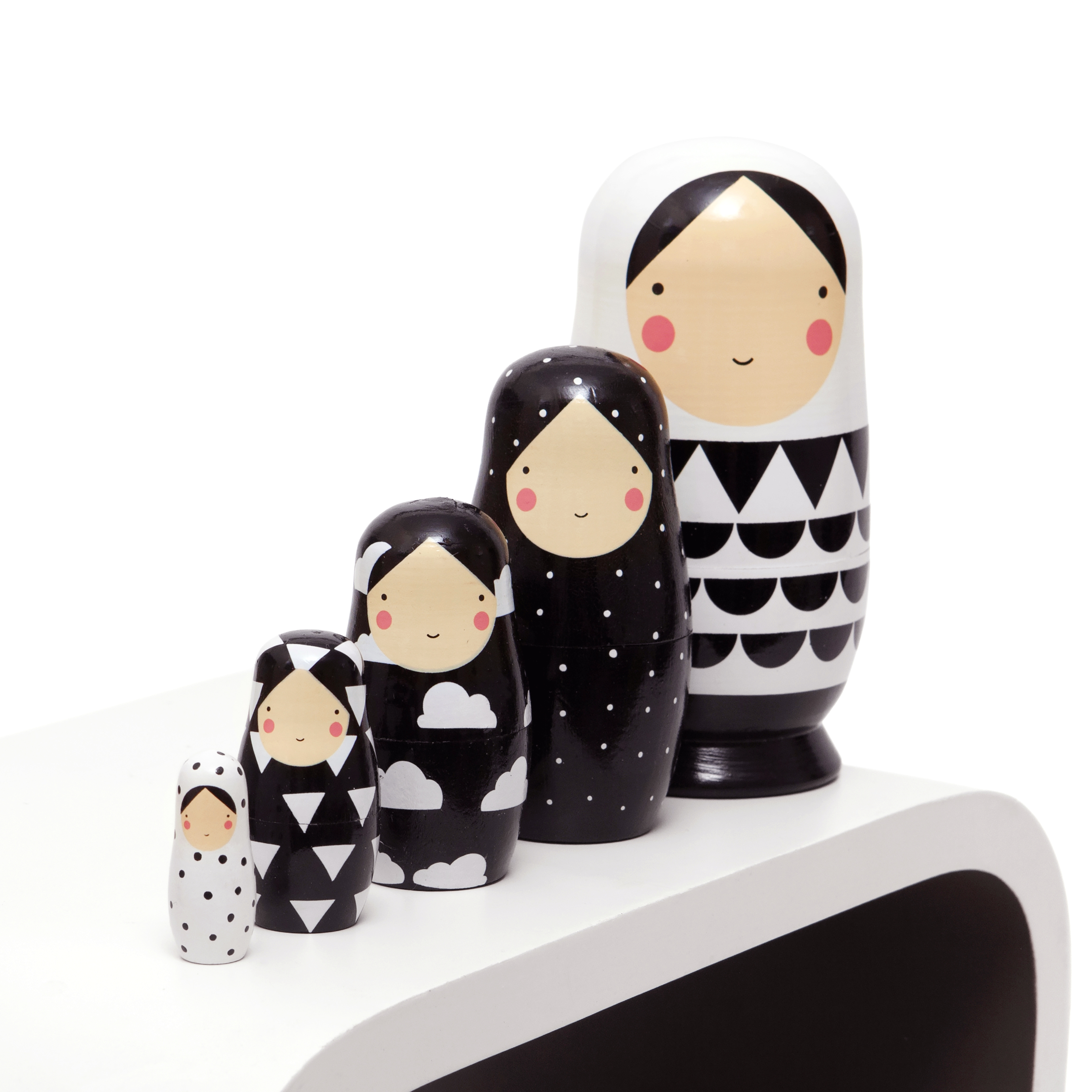 Black and white nesting dolls ND 2 d